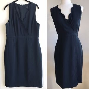 J. Crew Navy Scalloped Sheath Dress